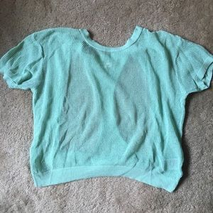 Mint green open racerback shirt